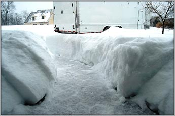 Upwards Of Four Feet Of Snow Was Dumped On The Doorway To Frankies Speed Shop in the Blizzards Of 2010